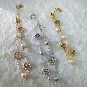 Tory Burch Zircon And Pearl Multi Pendant Bracelet